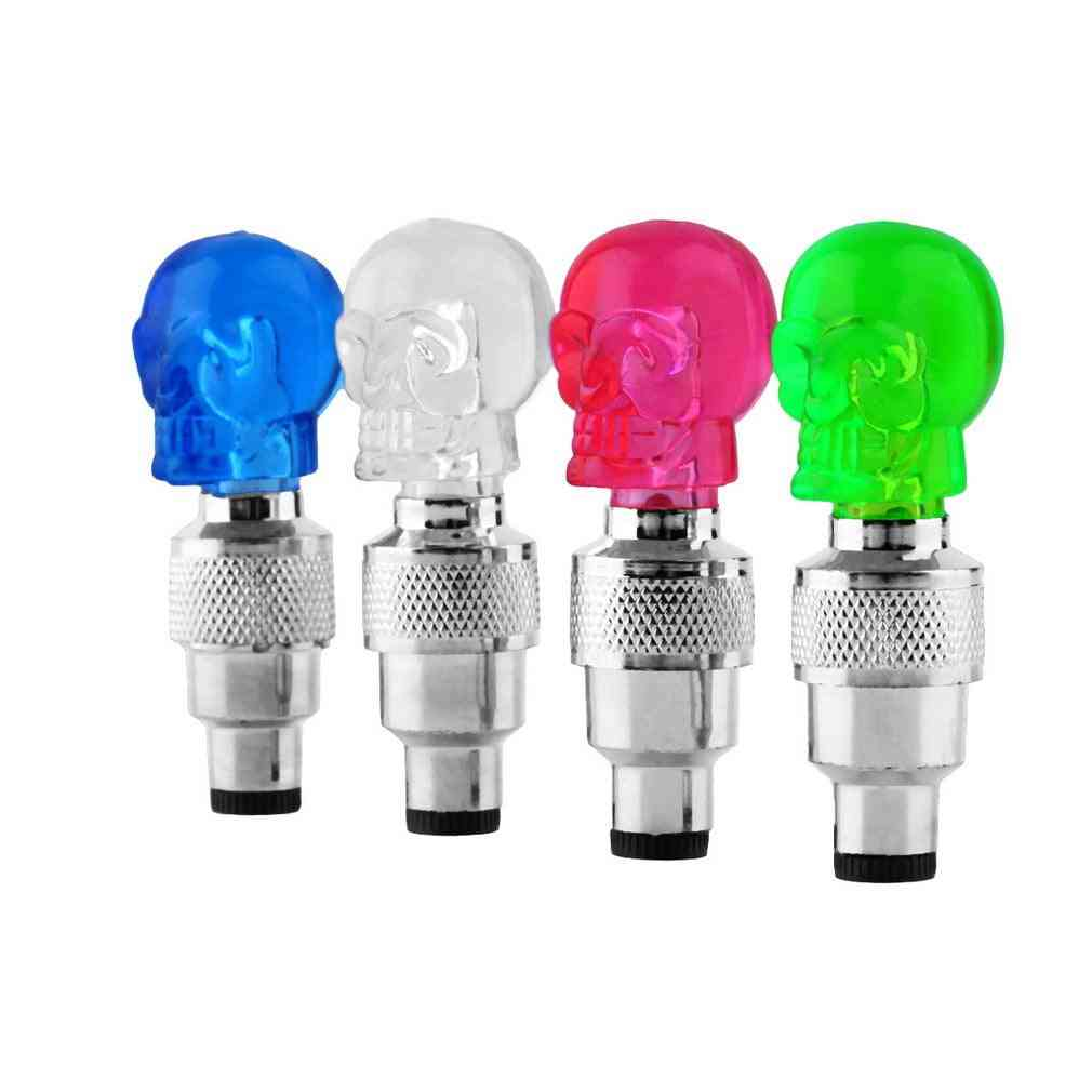 Skull Shape Valve Cap, Led Light Wheel Tyre Lamp For Bicycle Accessories
