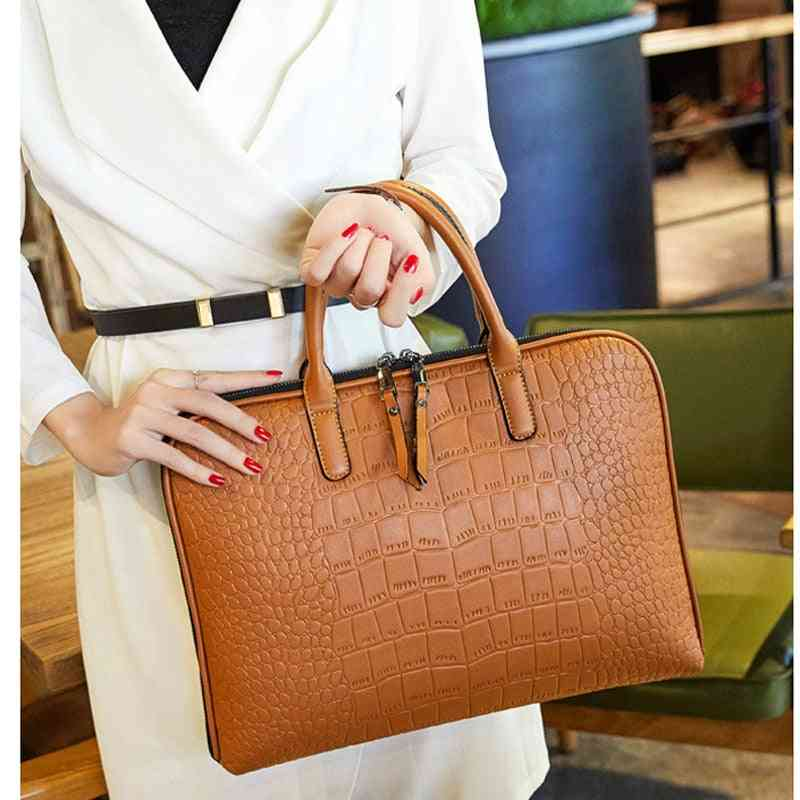 Woman's Office Casual Pu Leather Laptop Bag With Strap