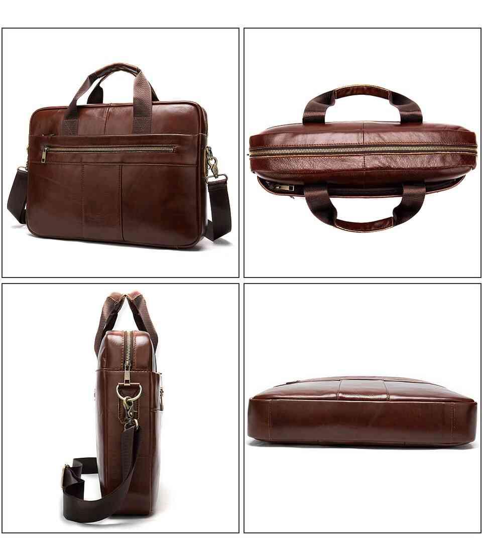 Men's Genuine Leather Laptop Business Tote Shoulder Bag