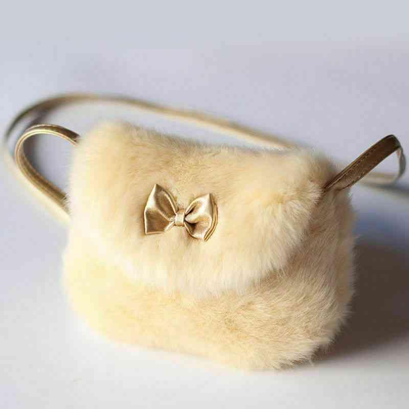 Girls Kids Bowknot Mini Artificial Fur Cross Body Handbag