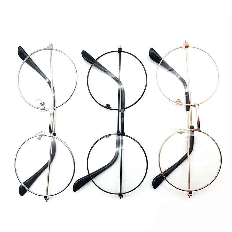 Retro Large Round Shaped Transparent Metal Spectacles