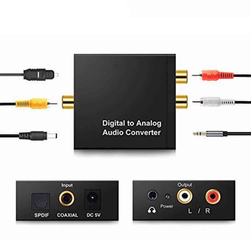 3.5mm Jack Dac Digital To Analog Audio Converter Decoder, Optical Fiber Coaxial Stereo Audio Adapter To Rca Amplifiers