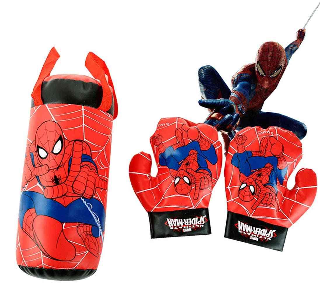 Spiderman Gloves Sandbag Set Plush Stuffed Kids Sports Boxing