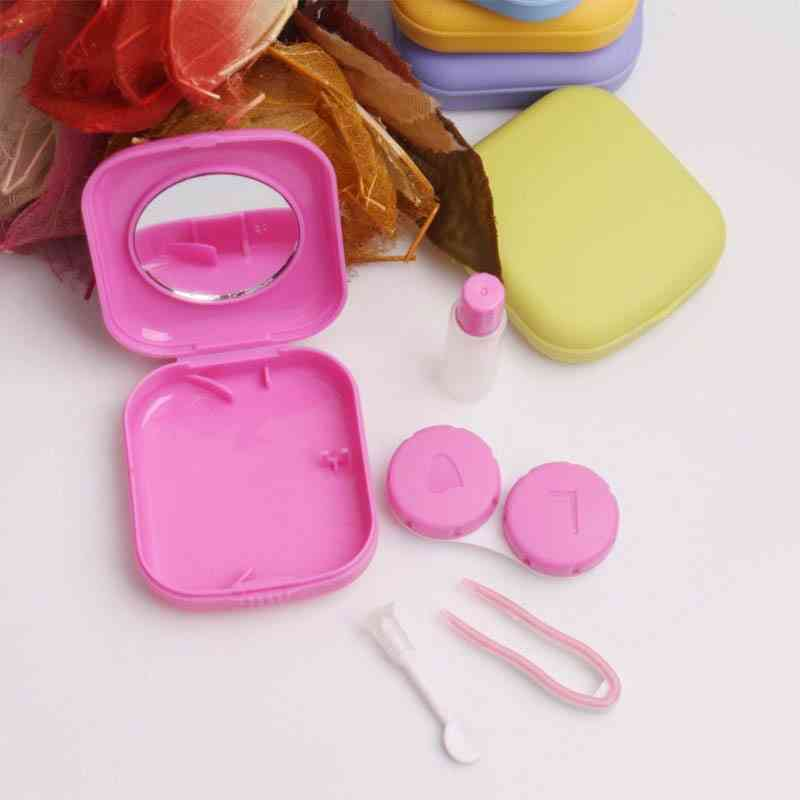 Pocket Portable Mini Contact Lens Case, Makeup Beauty Storage Box With Mirror