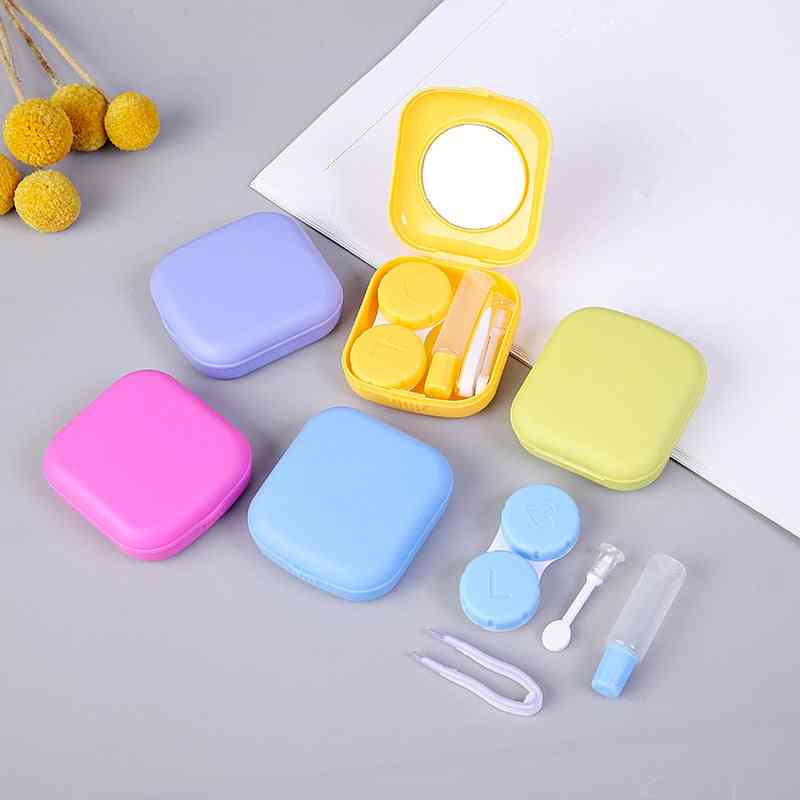 Mini Square Contact Lens Case With Mirror