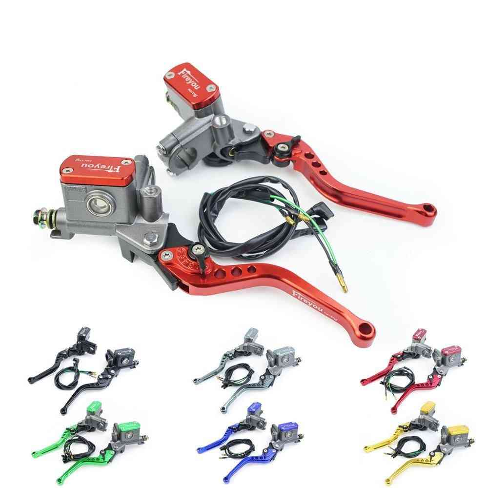 Universal Dual Hydraulic Front Brake Master Cylinder, Clutch Perch With Adjustable Levers And Fluid Reservoir Kit