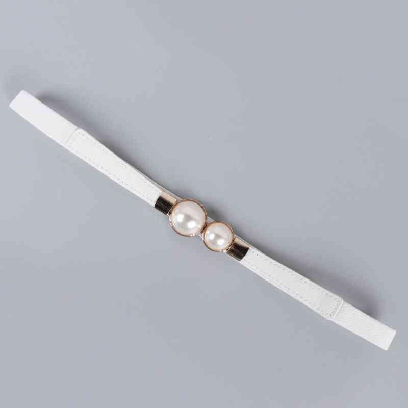 Double Pearl Pu Leather Waist Belt Dress
