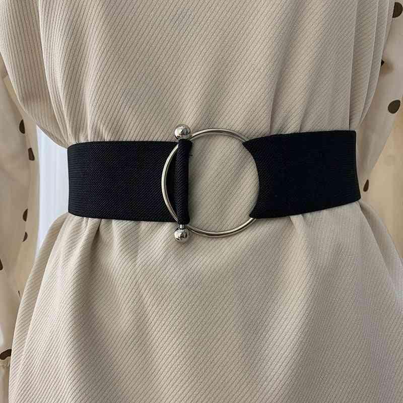 Round Buckle Design Elastic Waist Belts For Women