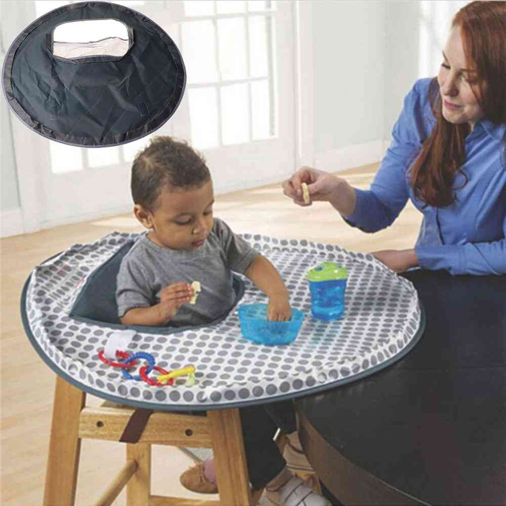 Feeding Chair Cushion Waterproof, Round Folding Infants Eating Table Mat