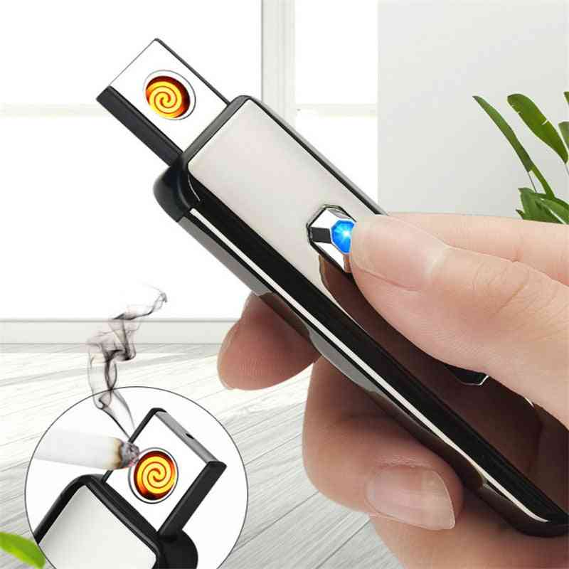 Usb Rechargeable Lighter Push Button Double-sided Point Charging