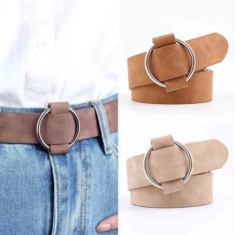 Women Fashion Round Metal Adjustable Belts With Buckle
