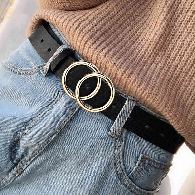 Designers Famous Leather High-quality Fashion Alloy Double Belt For Girl
