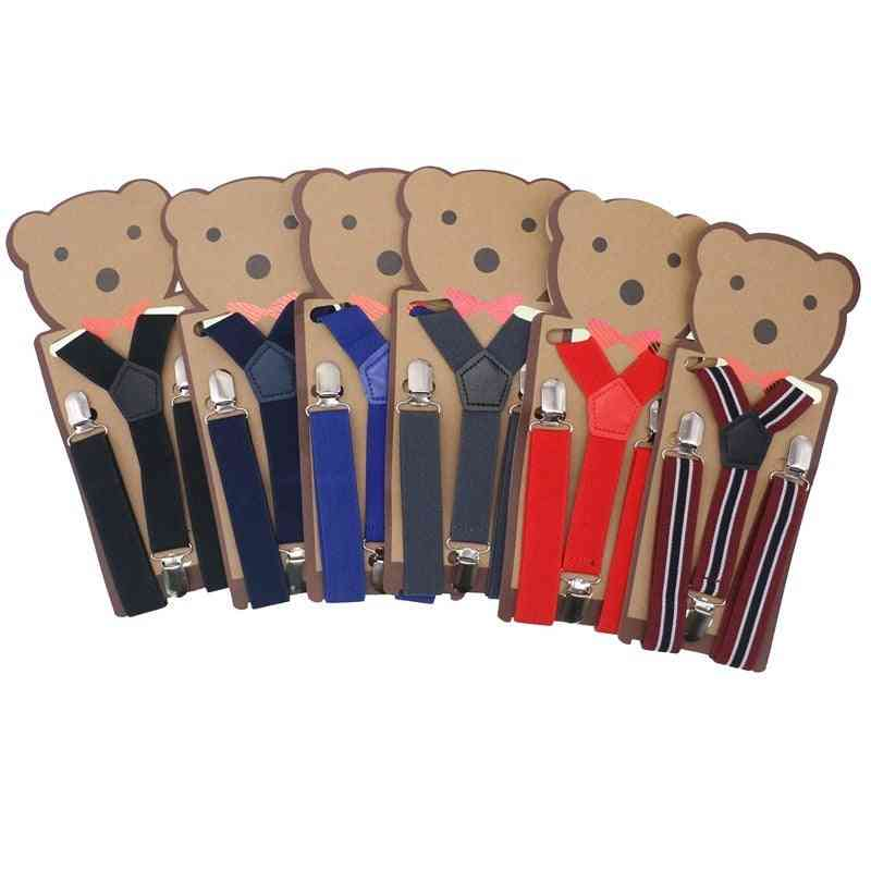 Cute Striped Design Suspenders Baby Clip-on Y-back Braces Elastic Kids