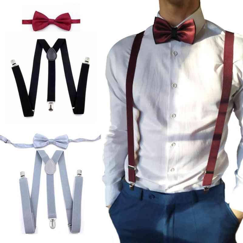Suspenders With Bowtie Fashion Men Bow Tie Set