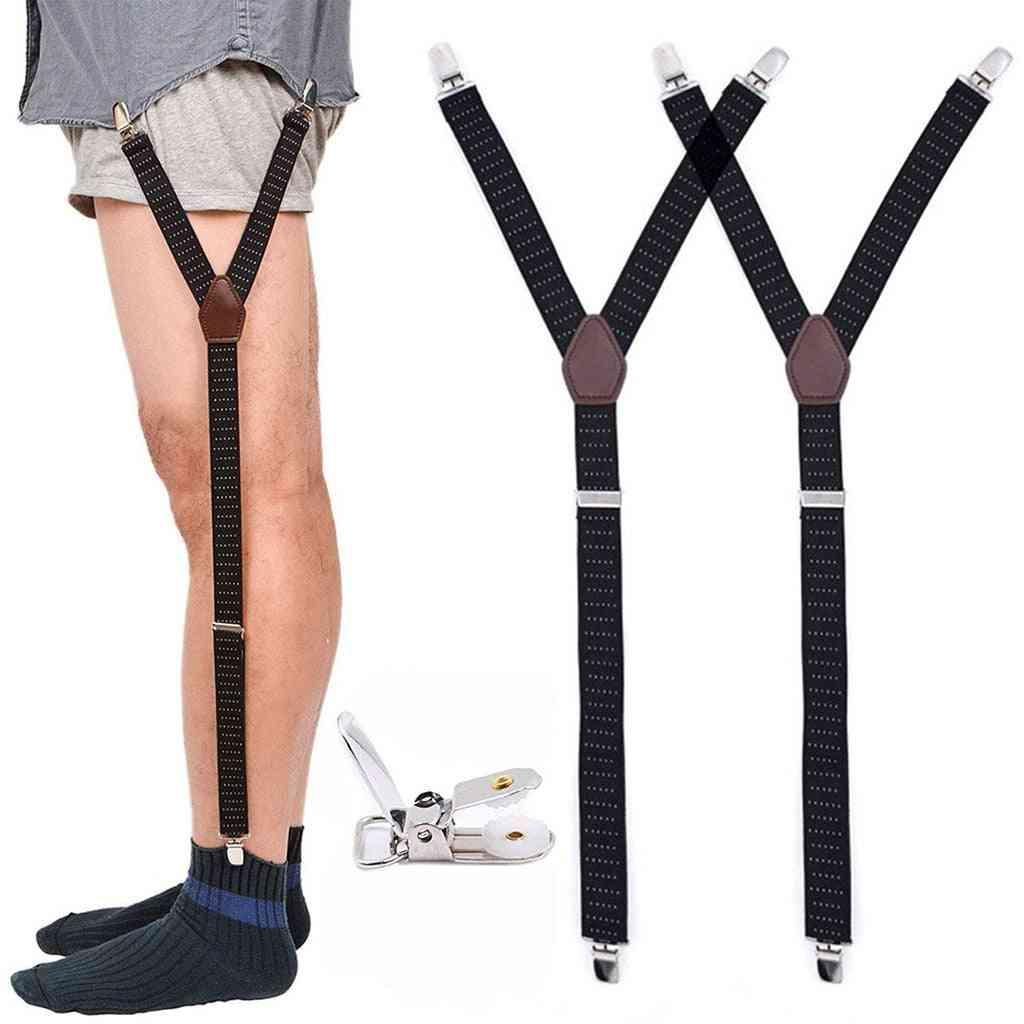 Mens Fashion Shirt Stays Garters, Y Shape Military Adjustable Elastic Shirt Holders, Leg Suspenders