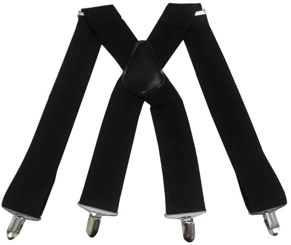 Wide Adjustable Four Elastic Heavy Duty Braces Suspenders