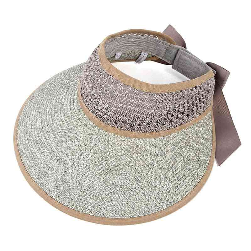 Collapsible Summer Straw Beach Cap, Sun Protection Visor Hat