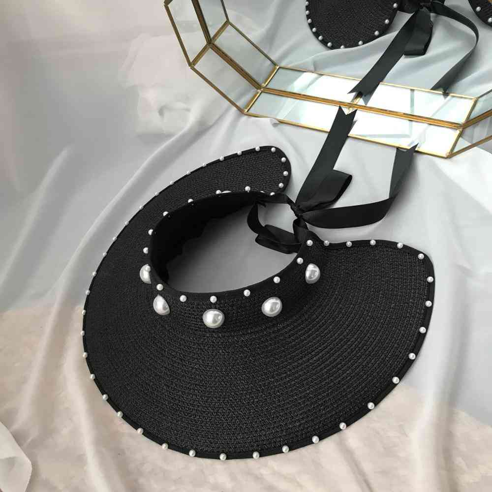 New Fashion Pearl Bow Summer Straw Hats - Women Empty Top Sun Cap