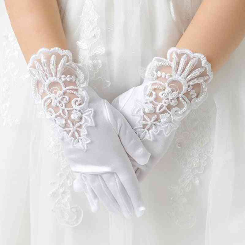 Elastic Mesh Cloth Party Formal Etiquette Gloves, Pearl Short Lace Bow
