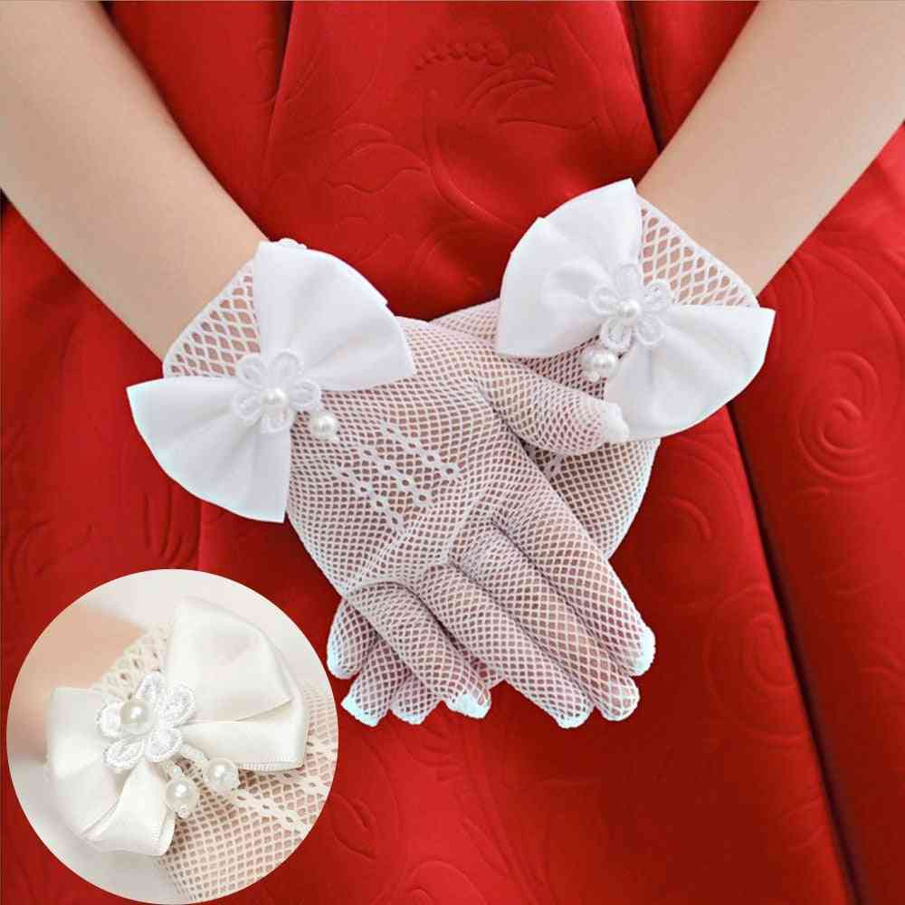 High Elasticity Mesh Bow Cream Lace Pearl Fishnet Gloves For Girl