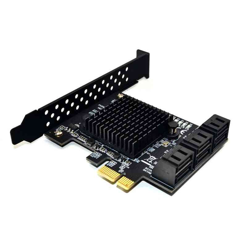 Marvell 88se9215 Chip 6 Ports Sata 3.0 To Pcie Expansion Card Pci Express Adapter