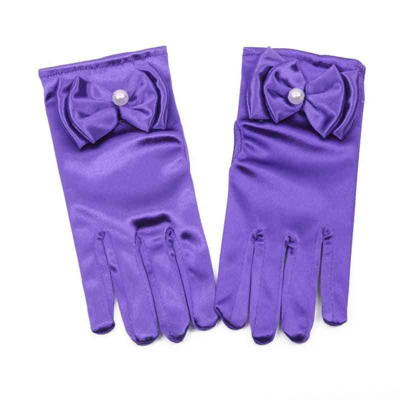 Lovely Elastic Girl Etiquette Performance Gloves, Pearl Flower Lace Bow Short Glove