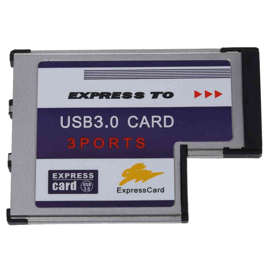 3 Port Usb 3.0 Express Card 54mm Pcmcia For Laptop