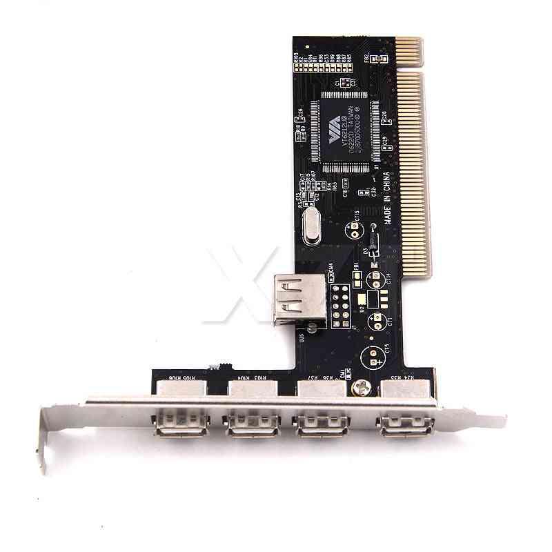 Usb 2.0 4 Port 480mbps High Speed Via Hub Pci Controller Card Adapter