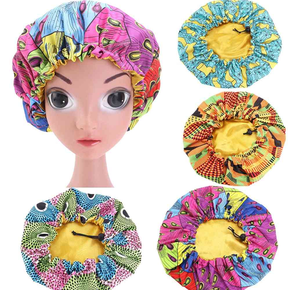Kids Night Sleep Cap, Satin Elastic Band Africa Bonnet Hat