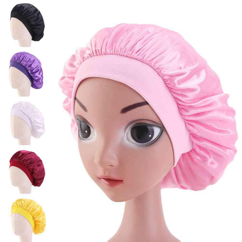 Kids Satin Bonnet Cap Solid Color Turban Chemo Hat