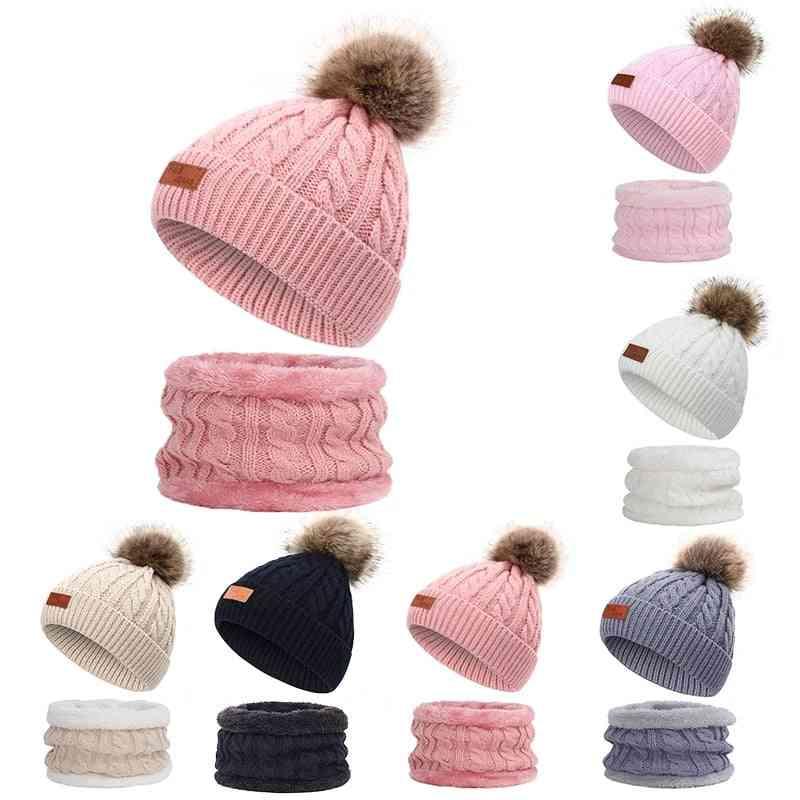 Cute's Knit Hat Scarf Suit, Pompom Leather Standard Twist Winter Warm