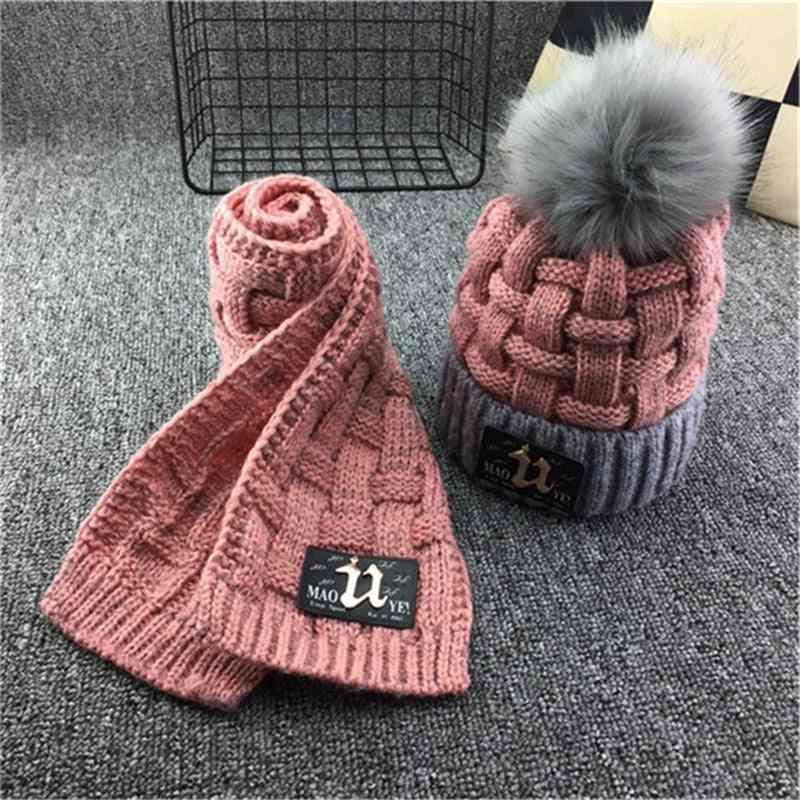 Winter Soft Fleece Knit Hat Scarf Set, Kids Novelty Thickened Beanie With Pu Patches