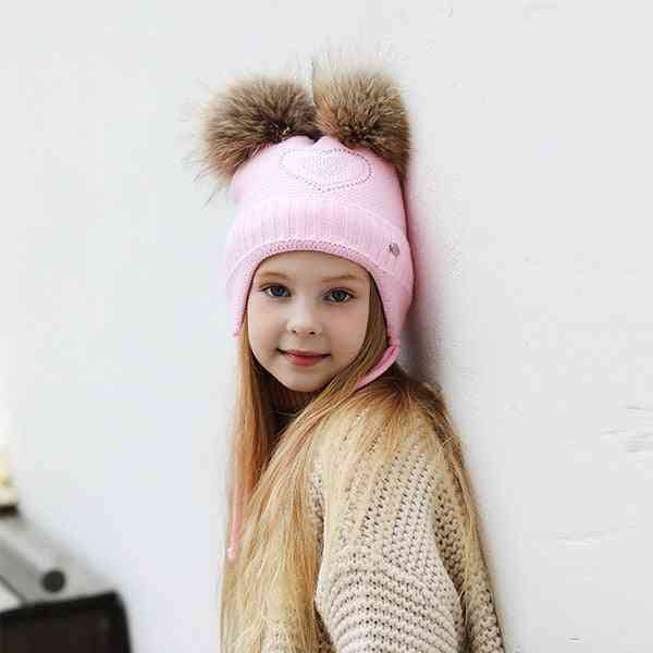 Heart-shaped Rhinestones Winter Hats For, Thick Cotton Knitted Ears Girl Pompom Caps