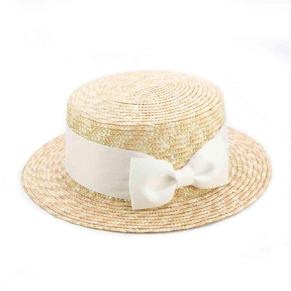 Children Bow Straw Sun Hats, Summer Beach Cap