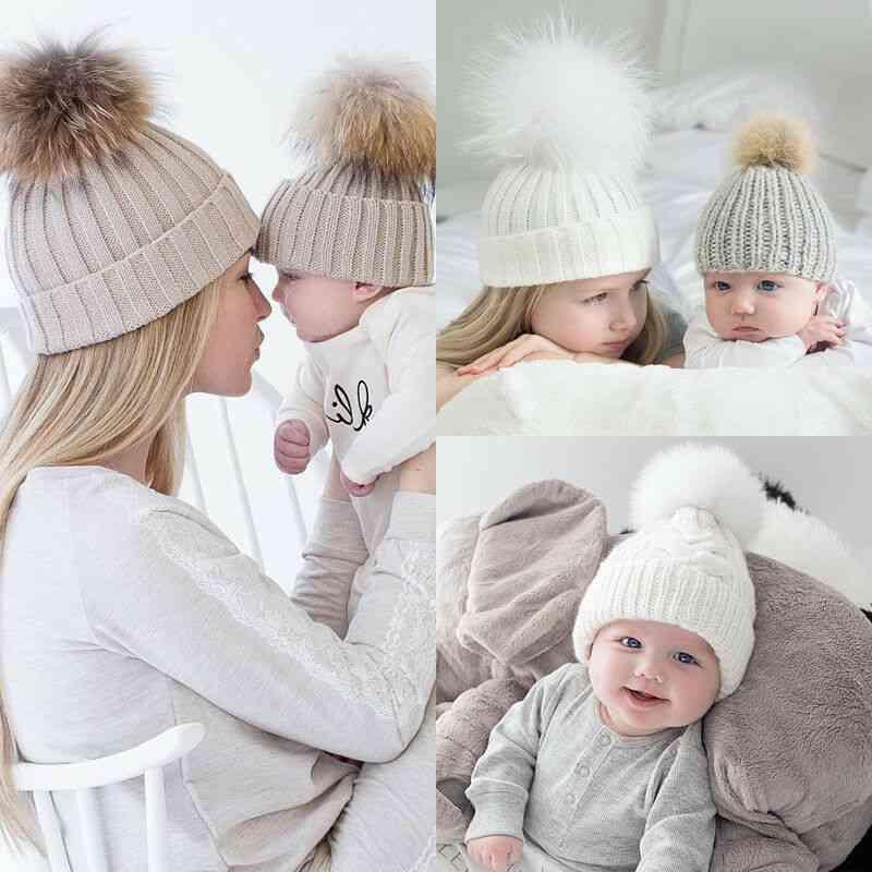 Women Baby Knit Hat, Girl Set Fur Ball Cap - Winter Accessories