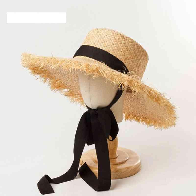 Ribbon Girl Sun Hat, Kids Summer Beach Uv Caps