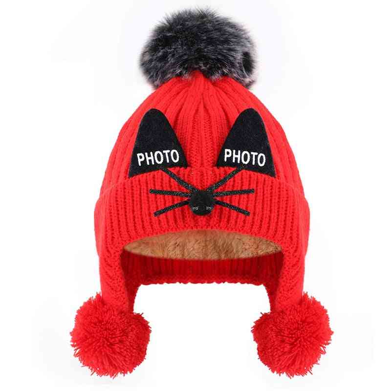 Winter's Earmuffs Warm Cute Cotton Knit Hat For And