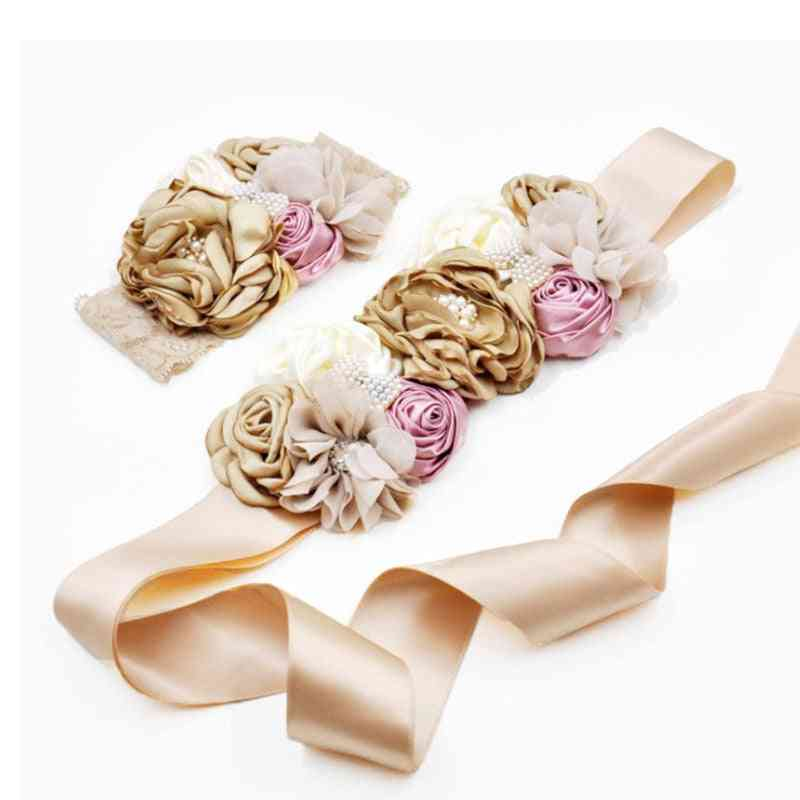Curling Pearl Handmade Rose Flower Ribbon Hair Band&belt
