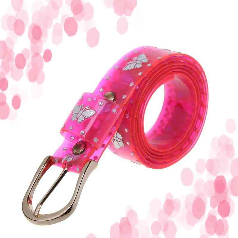 Lady Sweet Candy Color Laser Butterfly Print Belt