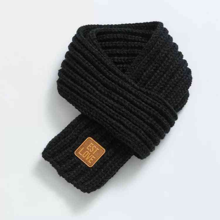 Children's Boys And Girls Solid Color Warm Neck Wool Knit Scarf