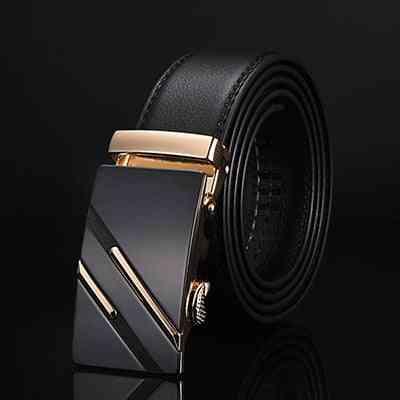 Genuine Leather Strap Belts, Men Automatic Buckle Black Cummerbunds Belts