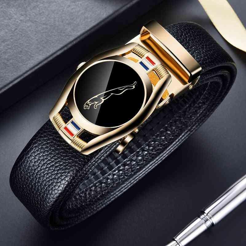 Men 3.5cm Width Sports Car Brand Fashion Automatic Buckle Genuine Leather Belt