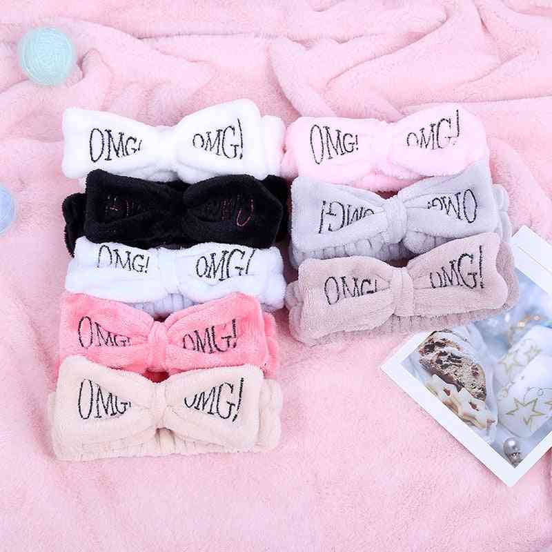 Omg Letter Coral Fleece Face Bow Hairbands
