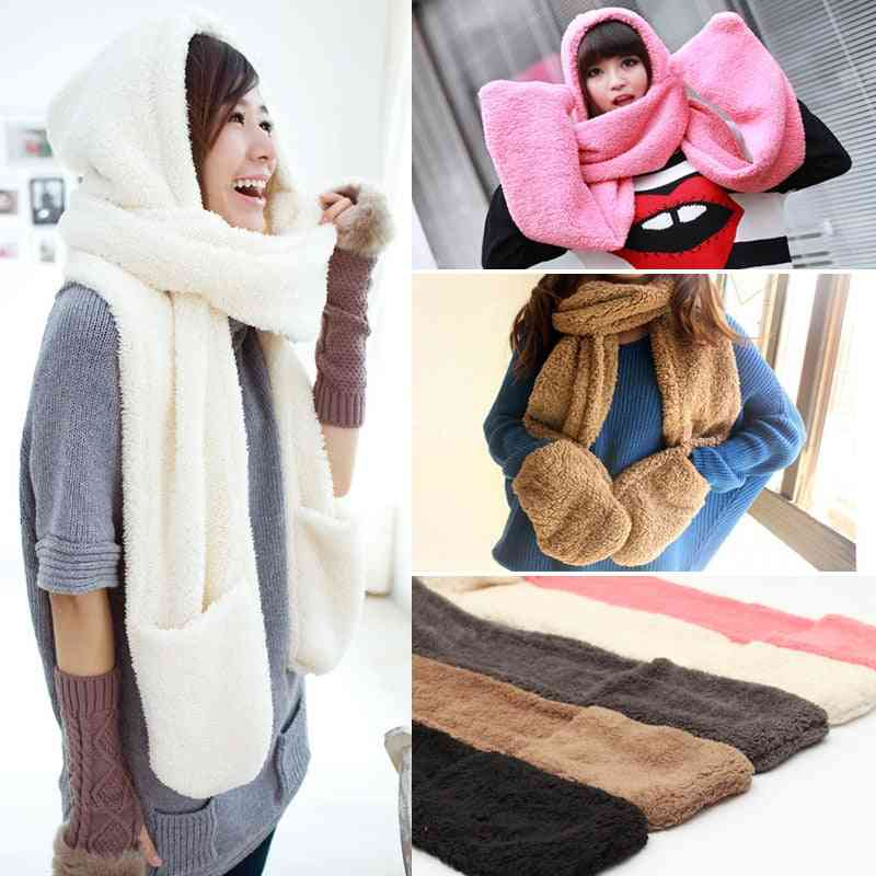 Multi-function Winter Warm Long Scarf With Pocket Gloves