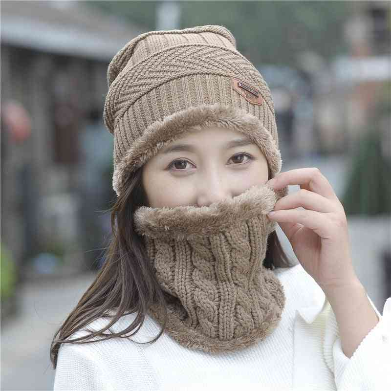 Women's Winter Warm, Knit Two-piece Hat And Scarf