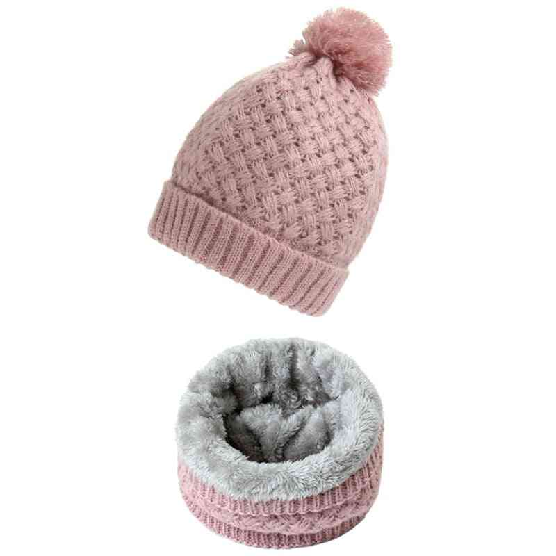 Warm Knitted Neck Scarf  And Beanie Hat Set