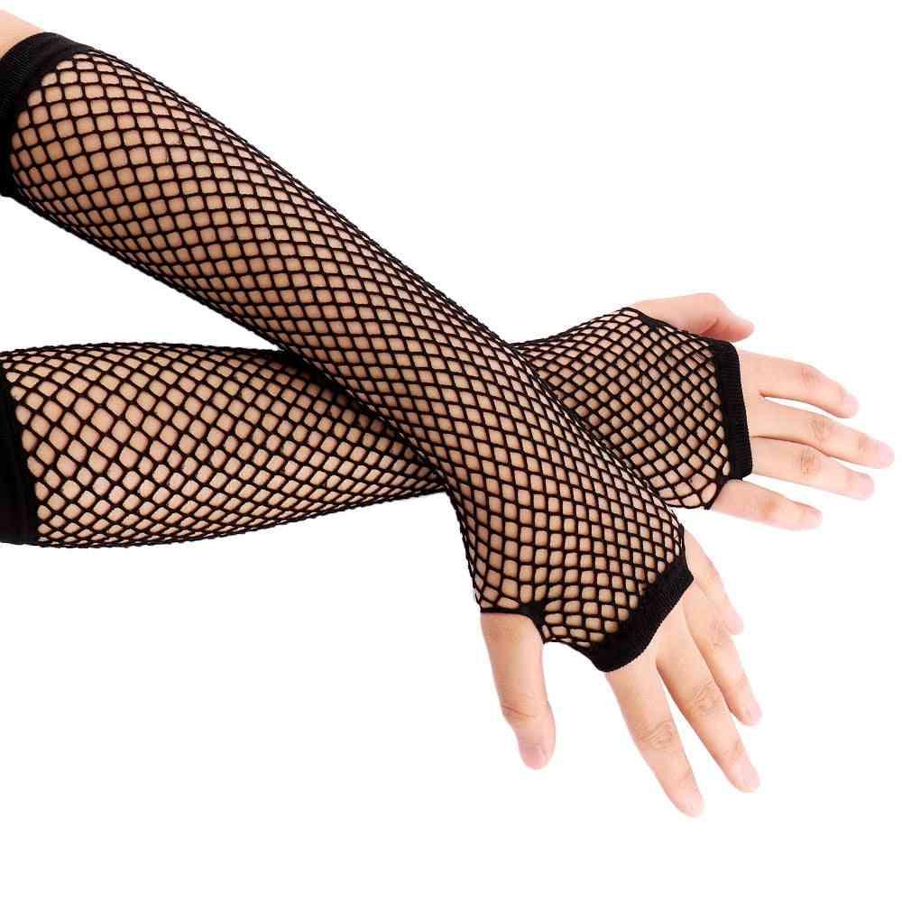 Neon Fishnet Fingerless Long Gloves, Leg Arm Cuff Party Wear Fancy Dress