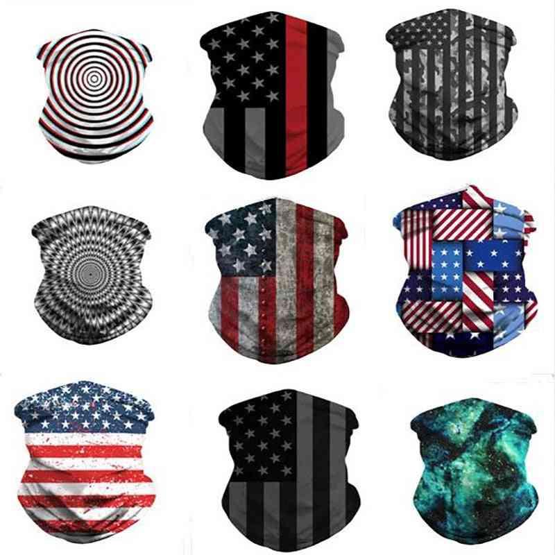 Fashion Silk Head Scarves Men & Women Scarf American Flag Face Cover