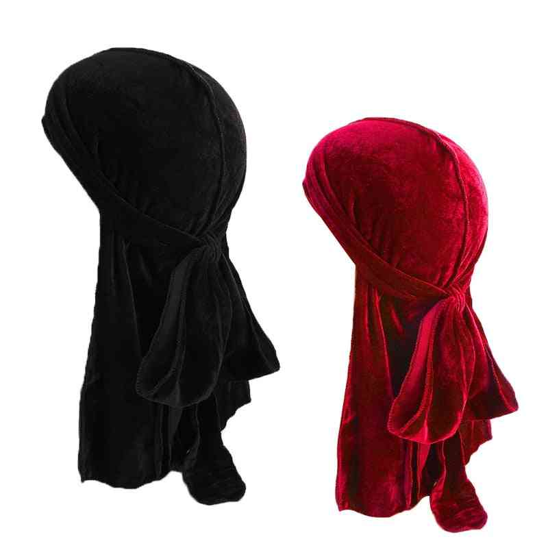 Men's Velvet Breathable Turban, Doo Rag Long Tail Biker Headwear Pirate Bandanas