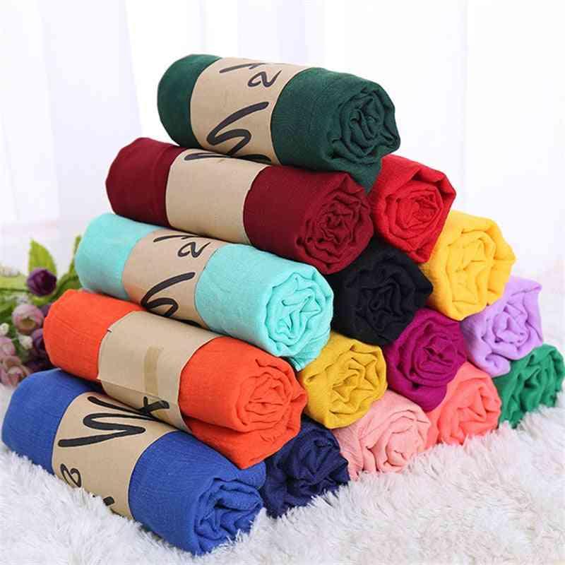Women Cotton Hijab Scarf Pashmina Lady Shawls And Wraps Headscarves